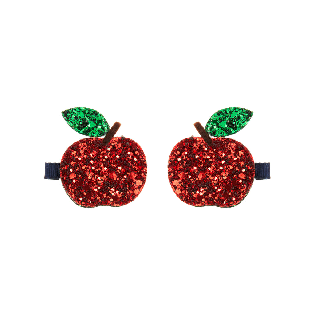 Glittery apple clips