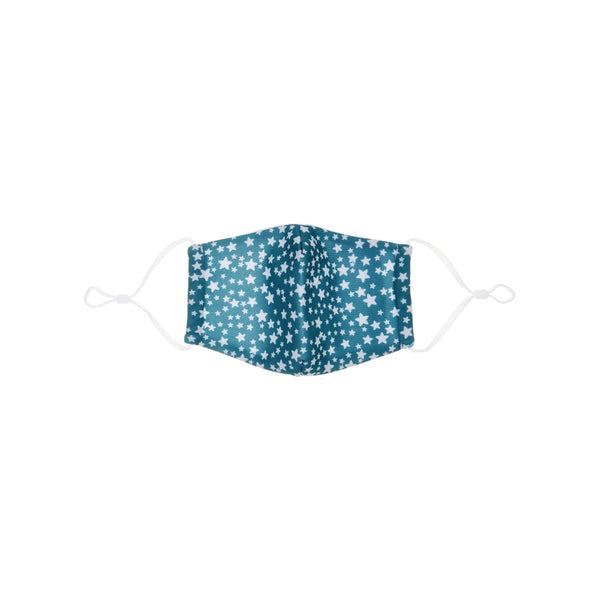 Teal star print face mask - child