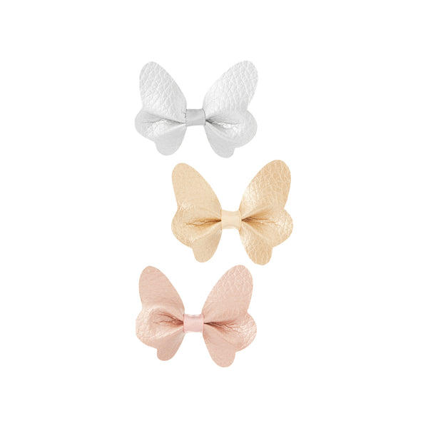 Metallic butterfly clip set