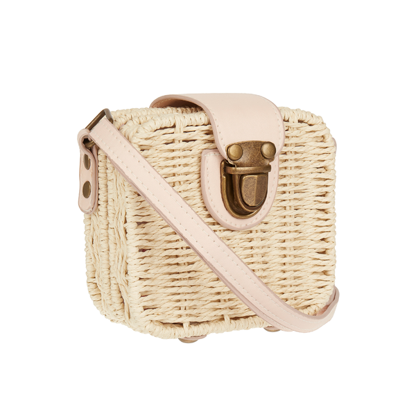 Mini wicker basket cross body bag