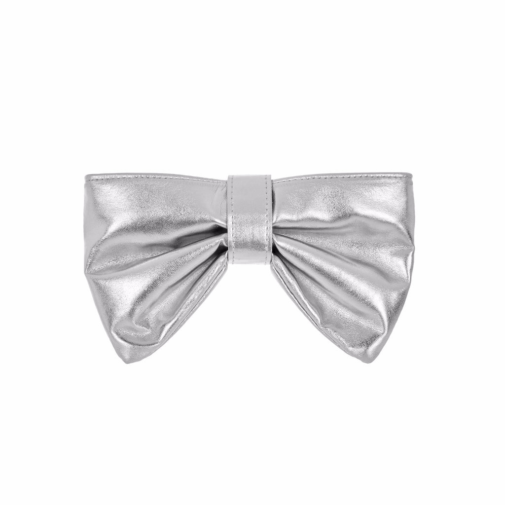 Metallic bow clutch bag