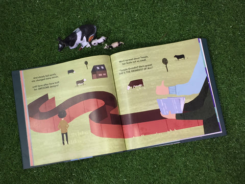 "A spread of pages from the book ""the girl who thought in pictures"" showing a cattle run devised by Dr Grandin"
