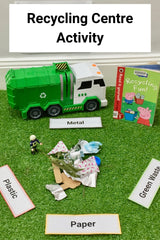Recycling centre small world play science activity for preschool to 5 and 6 year olds