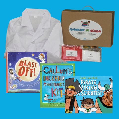 Chemistry-in-Action Book Value Pack with science kit for kids, refills, lab coat and choice of three books