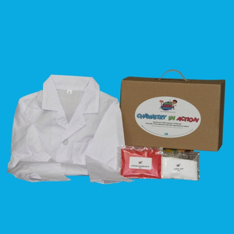 Chemistry kit value pack with science kit, scientist lab coat dress up and chemical refill kit