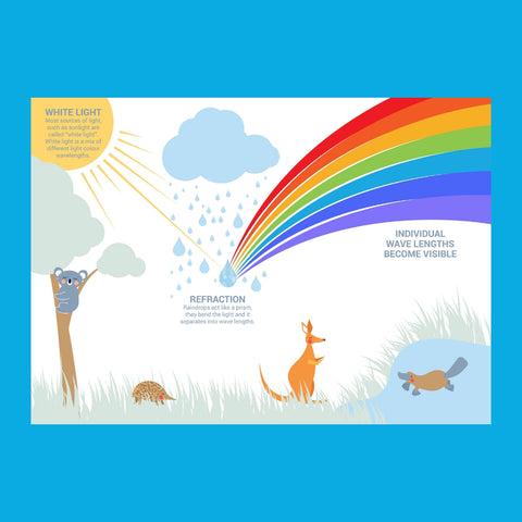 Educational poster on rainbow formation science featuring Australian animals