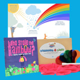 Rainbows and Light Optics and Colour Science Kit with who stole the rainbow? book, light paddle kit and rainbow poster.