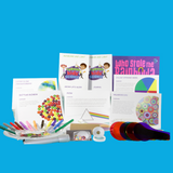Contents of Rainbows & Light value science kit including book and Montessori inspired perspex colour paddles