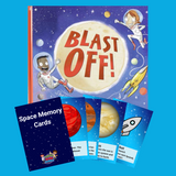 Space book and game value pack with Blast Off and Space Memory Cards