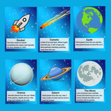 Space memory cards including a rocket, comet, Earth, Uranus, Saturn and the moon.