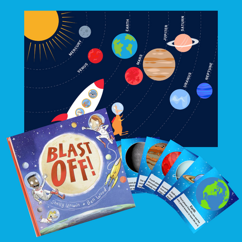Space explorers kit including a poster, blast off and memory cards