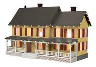 30-90589 - #4 Country House w/Operating Christmas Lights - (Gray Roof) Tan w/ Red Shutters