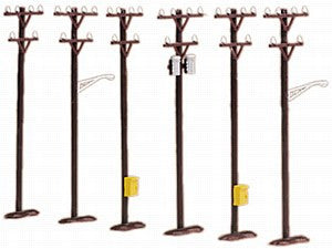 30-1088 - Brown Telephone Pole Set - 6 Piece set with transformers
