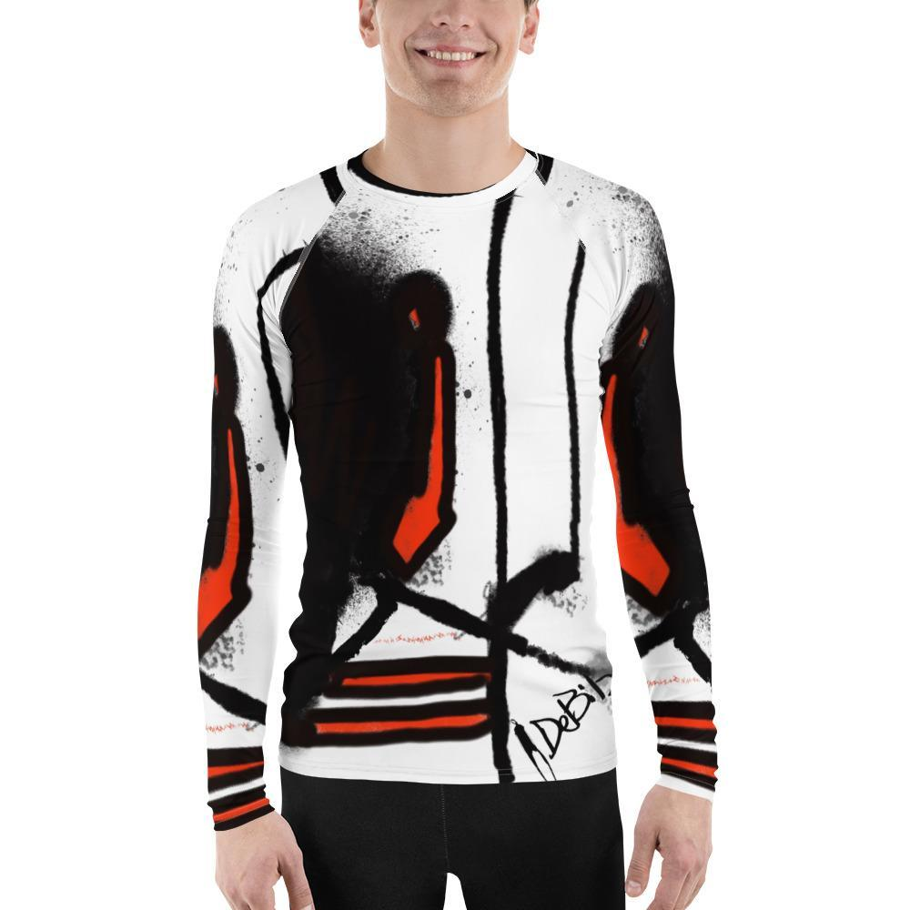 Abstract Red Black Men's Rash Guard - DeBilzan Gallery