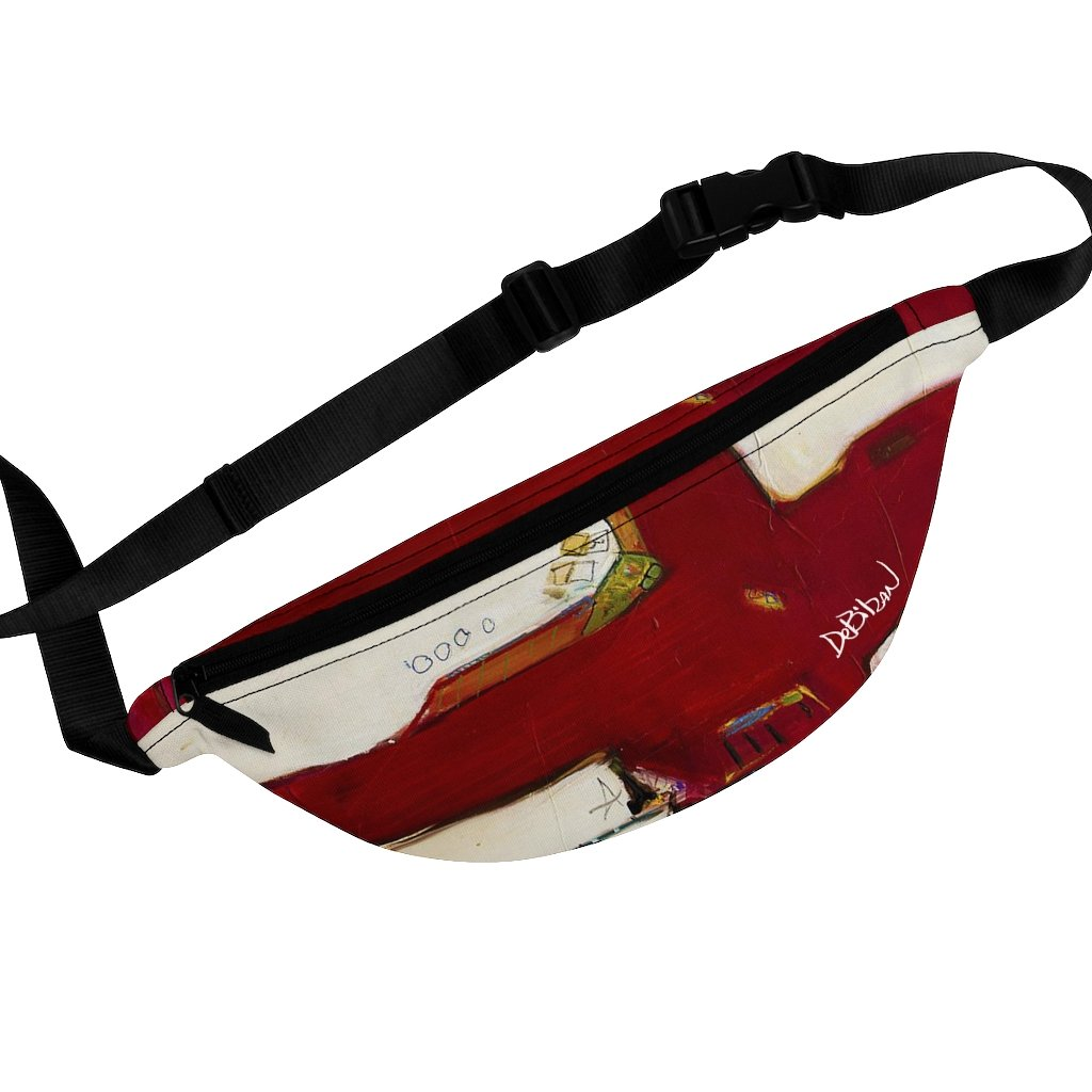 Bags Red And White Abstract Fanny Pack