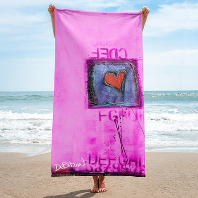 Beach Towel Pink Love Beach Towel