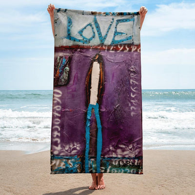 Beach Towel Purple Love Beach Towel
