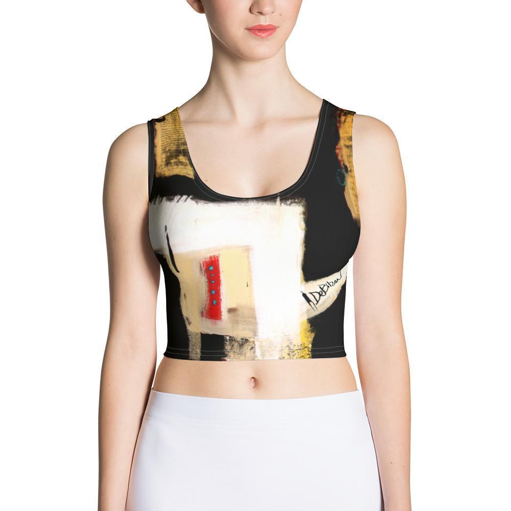 DeBilzan Black Abstract Crop Top