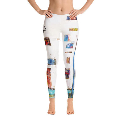 White Pattern Abstract Leggings - DeBilzan Gallery
