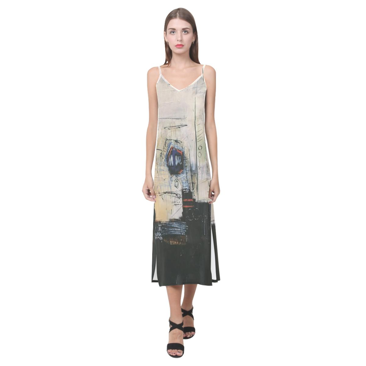 Dresses Intentions Abstract V-Neck  Long Dress