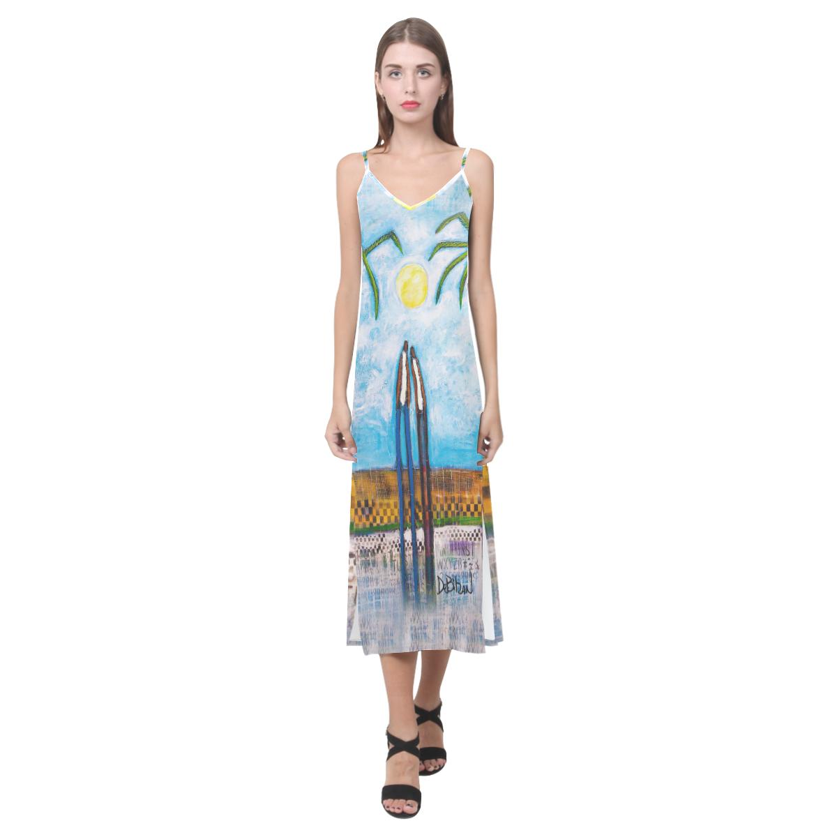 Dresses Island Romance V-Neck Open Fork Long Dress (Model D18)