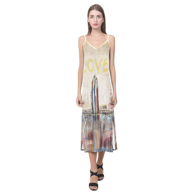 Dresses To Be Loved V-Neck Open Fork Long Dress (Model D18)
