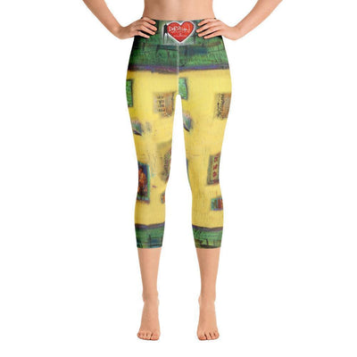 Leggings Yoga Sets DeBilzan Yellow Abstract Yoga Capri Leggings