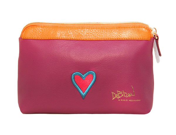 "Pink and Orange Leather Medium Makeup Bag ""Island Times"""