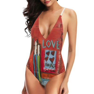 Swimwear DeBilzan She's the One Bikini Women's Lacing Backless One-Piece Swimsuit (Model S10)