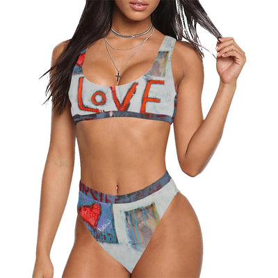 Swimwear DeBilzan Warm Love 2 Piece Swimsuit Sport Top & High-Waisted Bikini Swimsuit (Model S07)