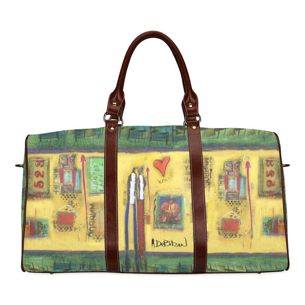 Travel Bags DeBilzan Yellow Abstract Large Travel Duffle Bag