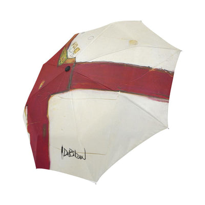 Umbrellas DeBilzan Red & White Abstract Umbrella Automatic Foldable Umbrella (Model U04)