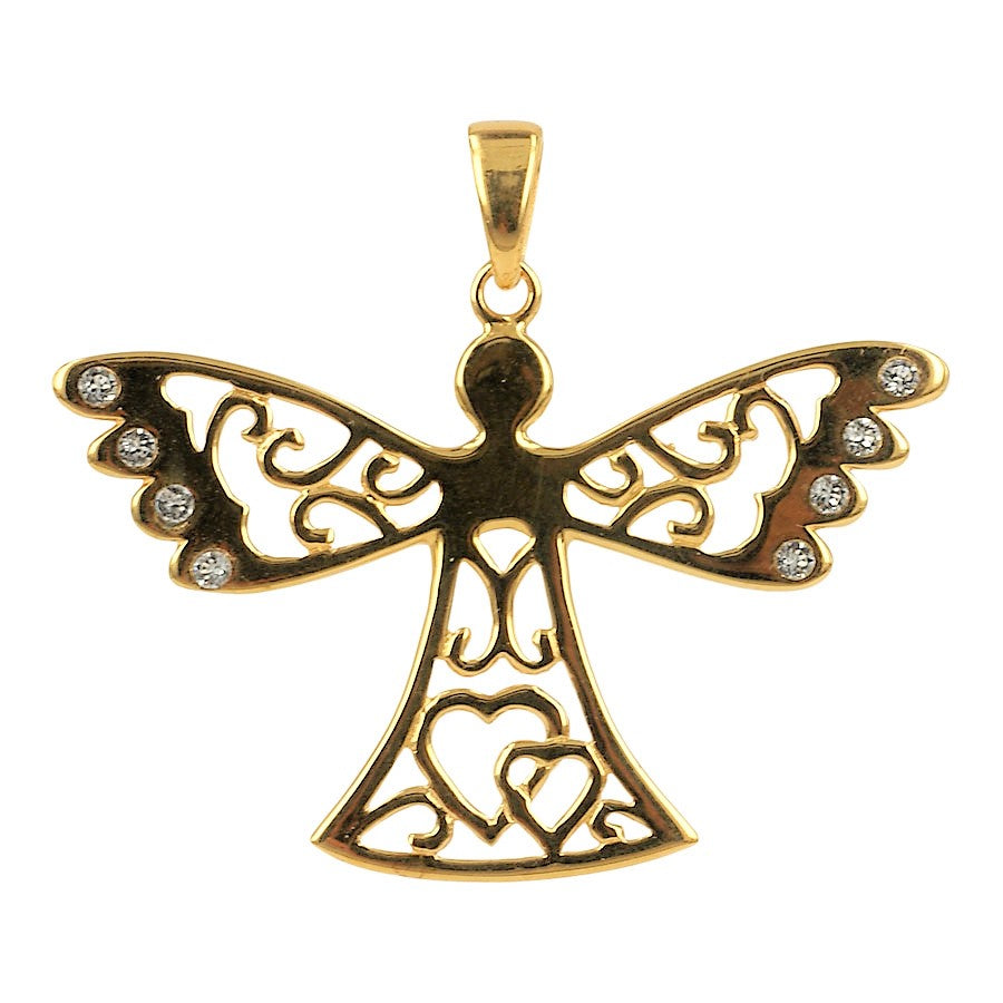 Guardian Angel pendant in gold plated sterling silver, large model