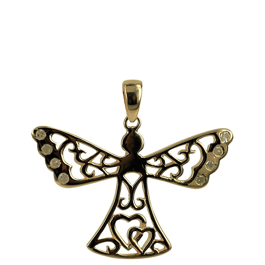 SOLID GOLD. Guardian Angel pendant (without chain) in 14 carat gold with gemstones