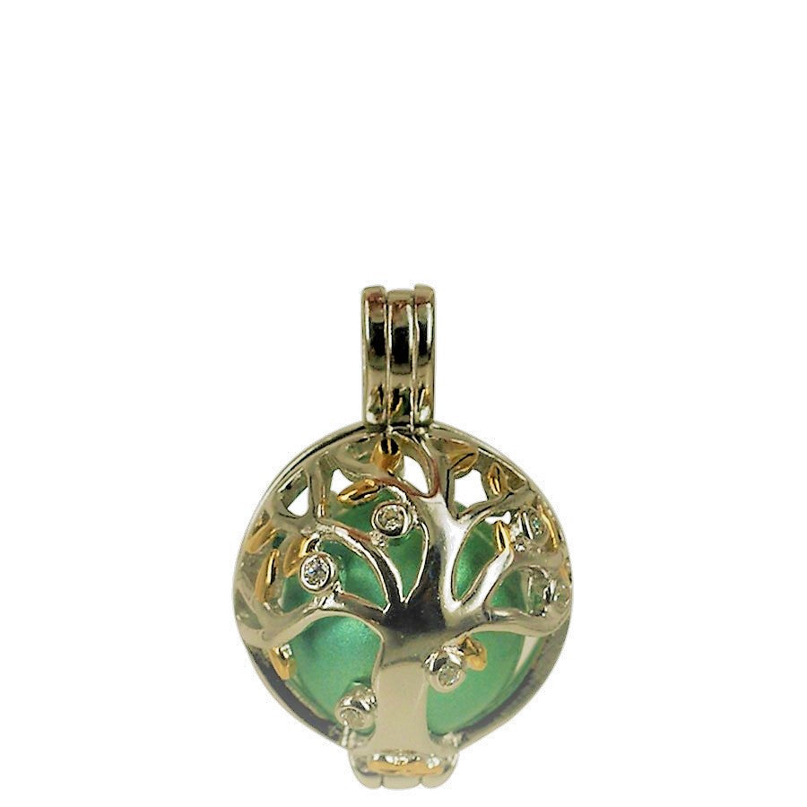 Angel Caller (small model) in sterling silver with gold plated leaves and clear crystals. Model The Tree of Life