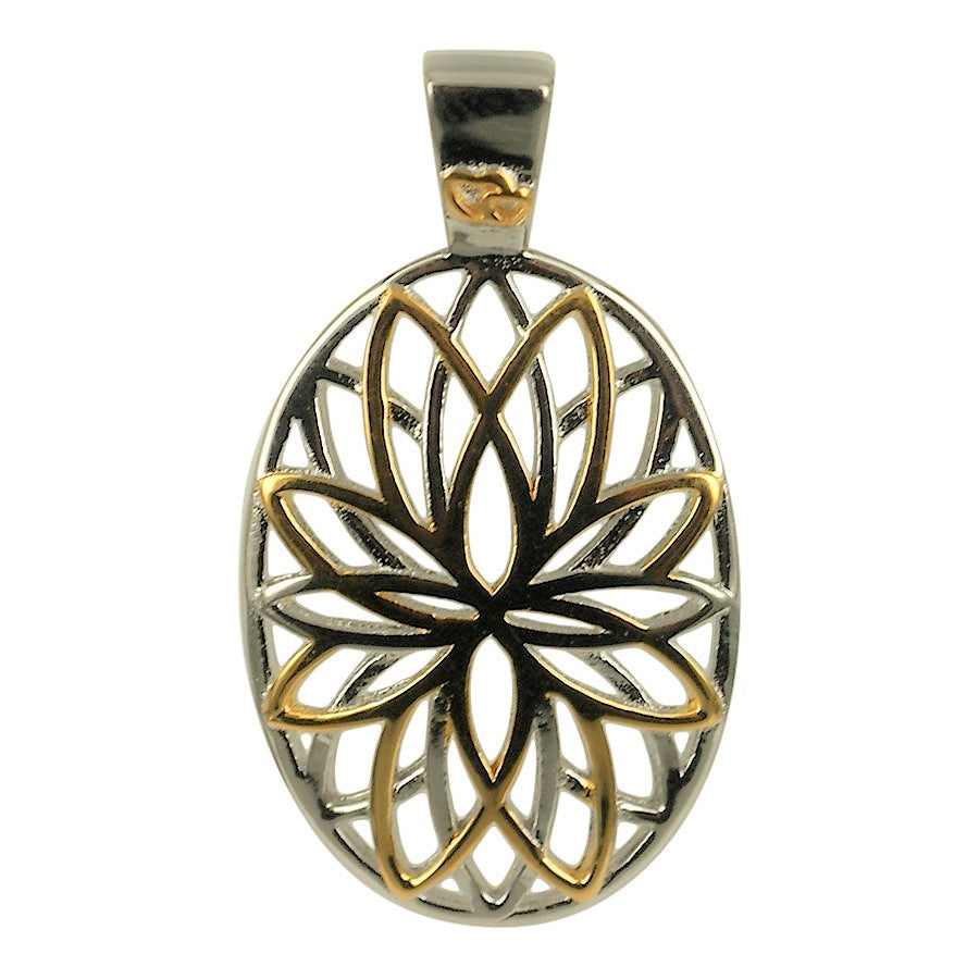 Pendant with the Flower of Life in sterling silver and 18 carat gold plating.