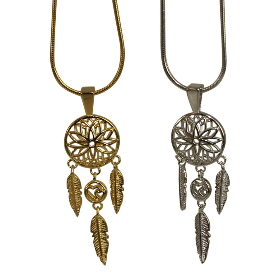 Dream catcher pendant in 18 carat gold plated sterling silver