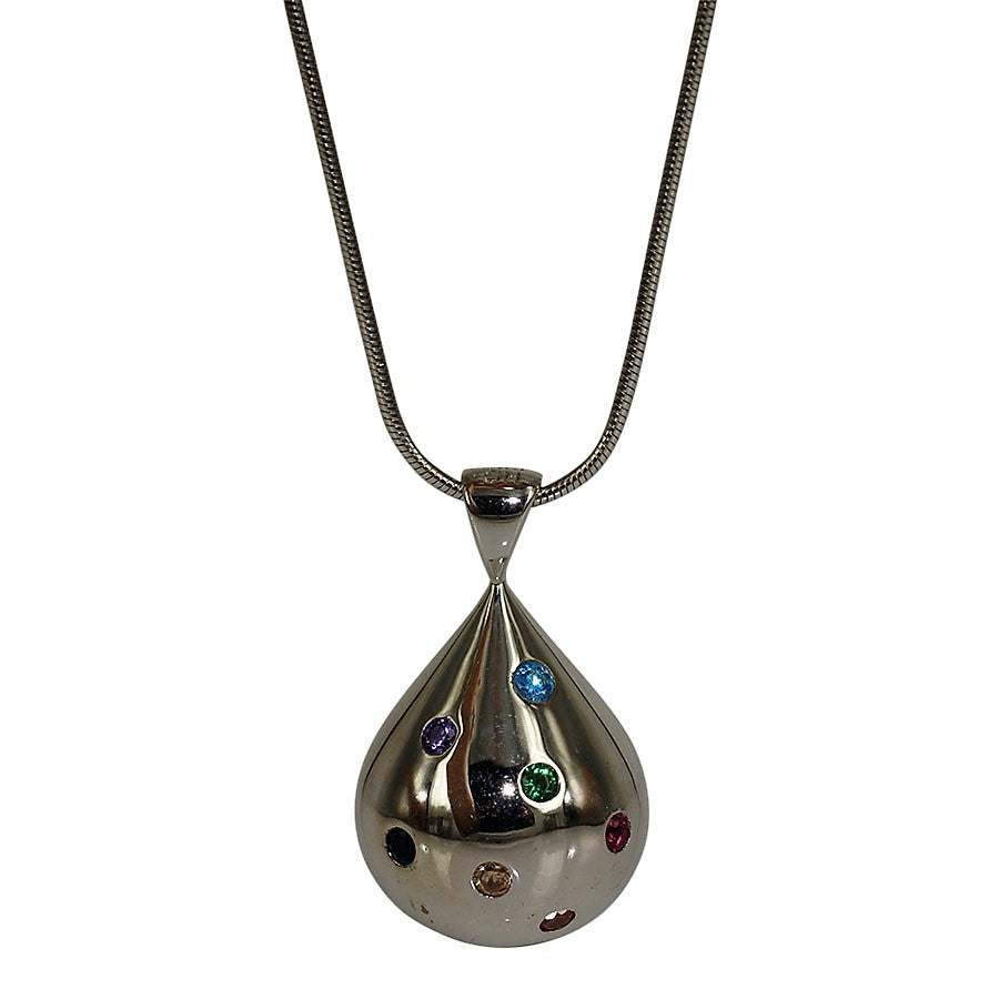 Droplet pendant in sterling silver with coloured crystals