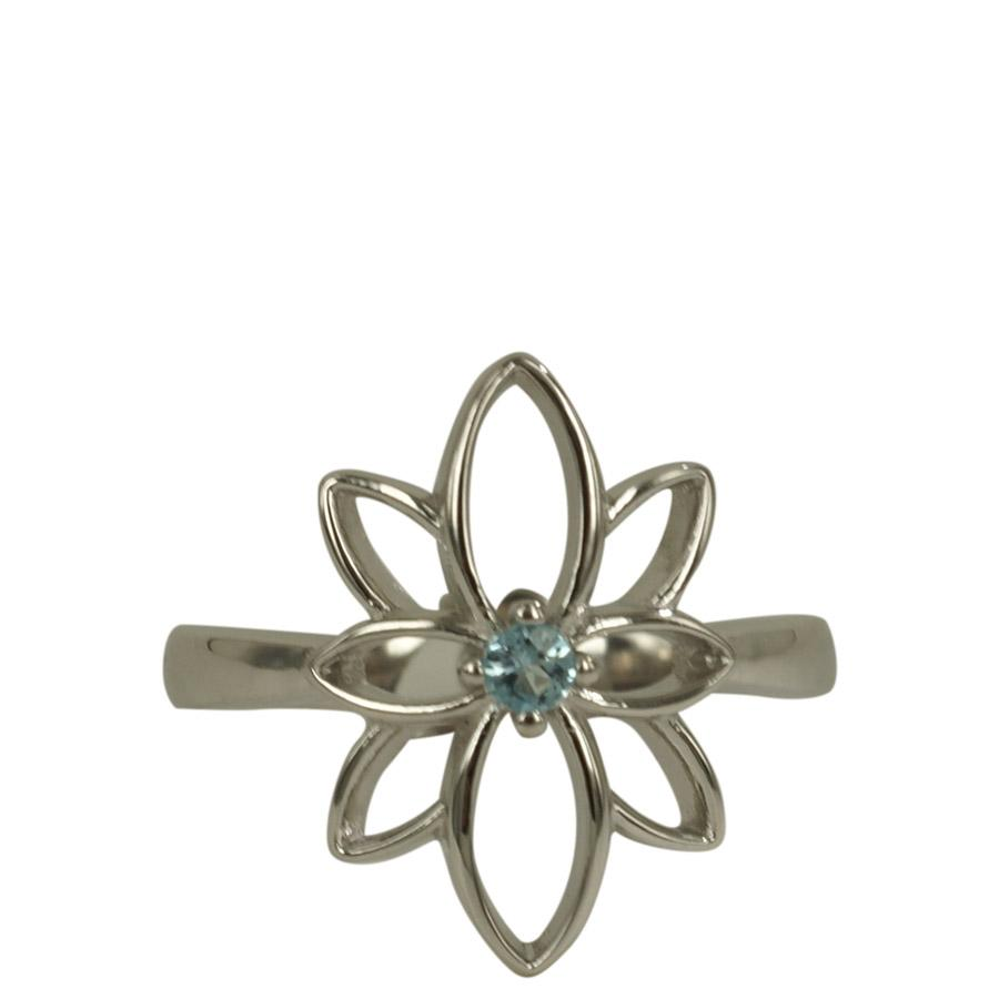 Ring with the Flower of Life and topaz