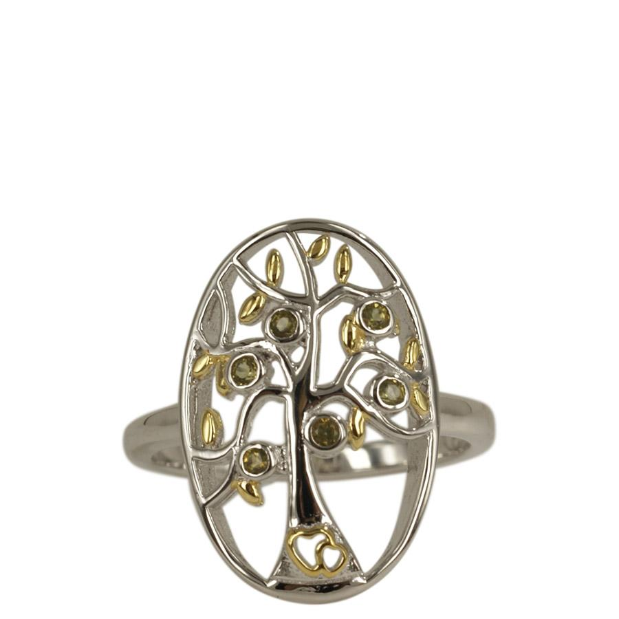 Oval ring with the Tree of Life and peridot