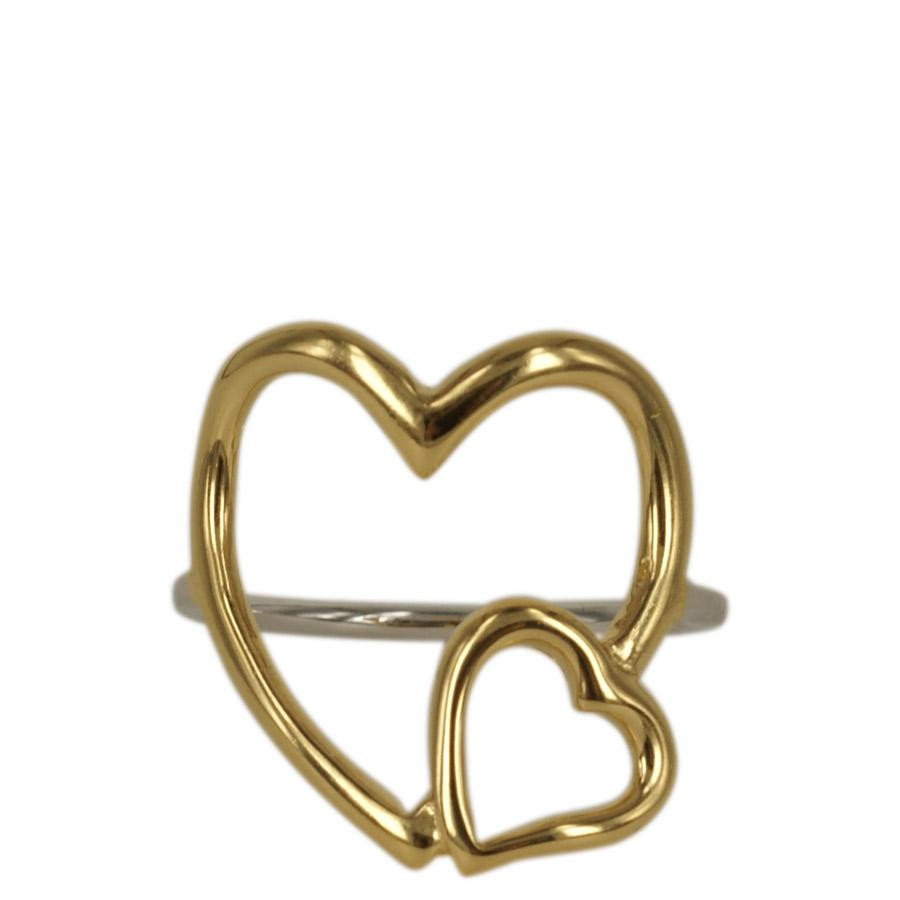 Ring with large thin hearts in sterling silver and gold plating