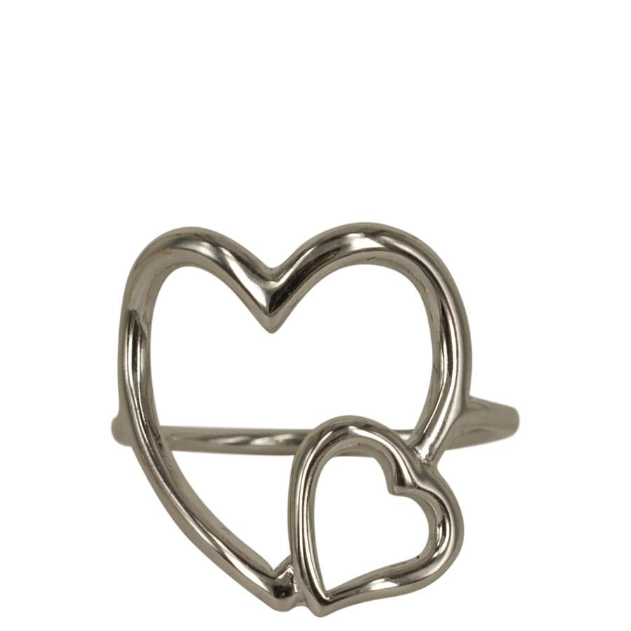 Ring with large thin hearts sterling silver