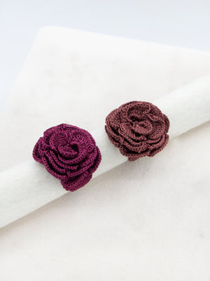 Anel Crochet Flor Bordo
