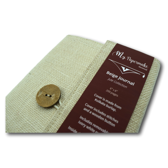 Burlap Jute Journal Beige