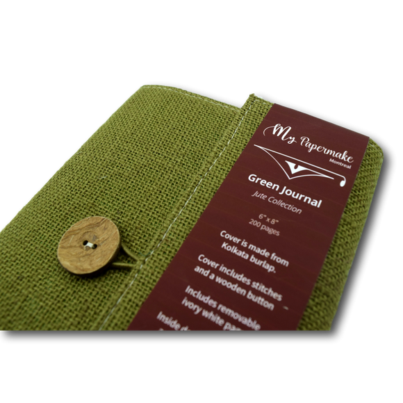 Burlap Jute Journal Olive