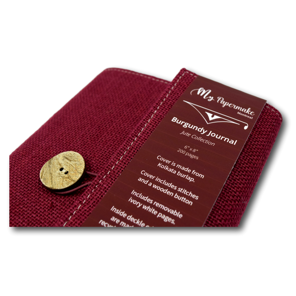 Burlap Jute Journal Burgundy