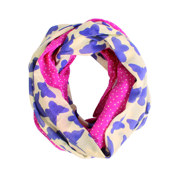 Lightweight Pink/Purple Butterfly Snood Scarf 100% Cotton