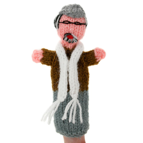 Hand Knitted Finger Puppet - Granddad