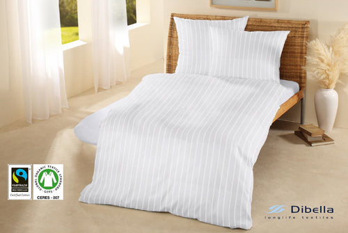 White Stripe Duvet Cover Fairtrade Cotton