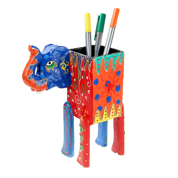 Wooden Elephant Pencil Pot